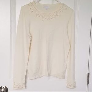 Charter Club sweater with pearls around the neck